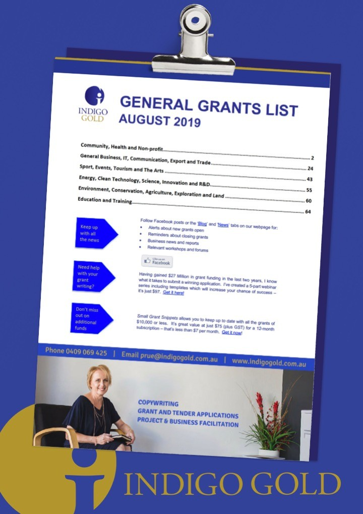 Grant lists and workshops - Indigo Gold